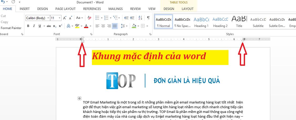 Khung mặc định của word khi thiết kế email marketing
