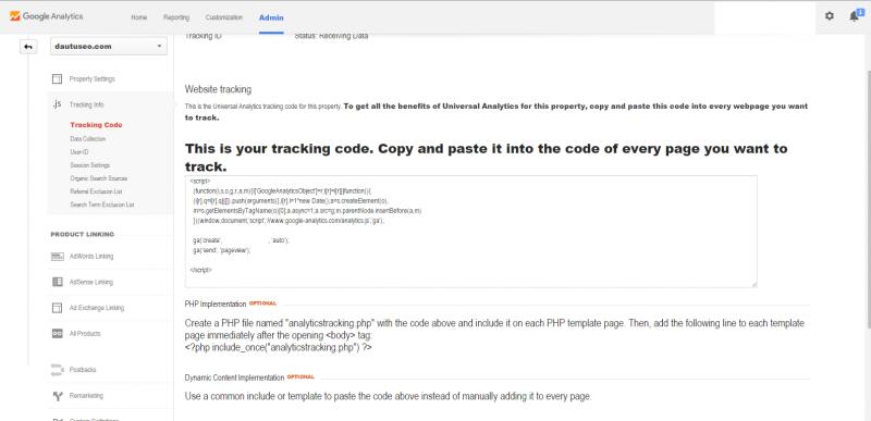 Code ID theo dõi của google Analytics