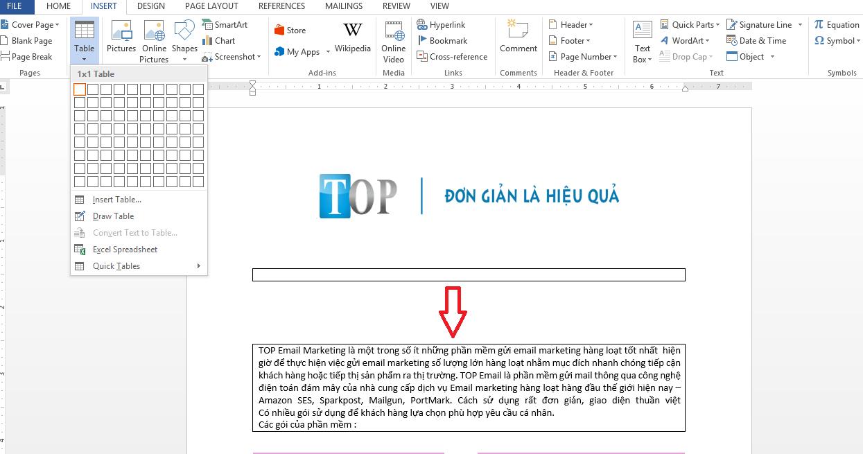 Thiết kế email marketing trên word bằng cách tạo bảng