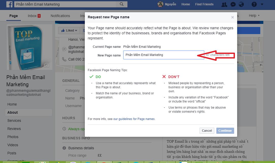 Cách đổi tên page facebook