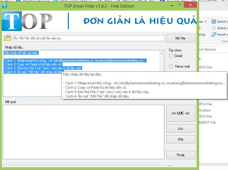 Phần mềm lọc email từ file