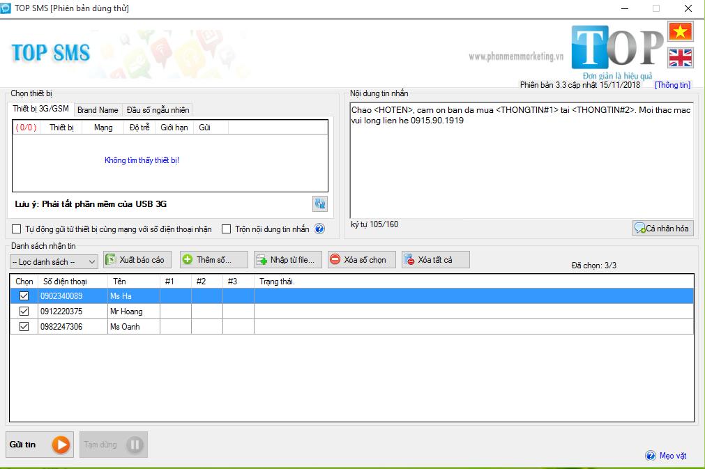 Phần mềm gửi tin nhắn sms