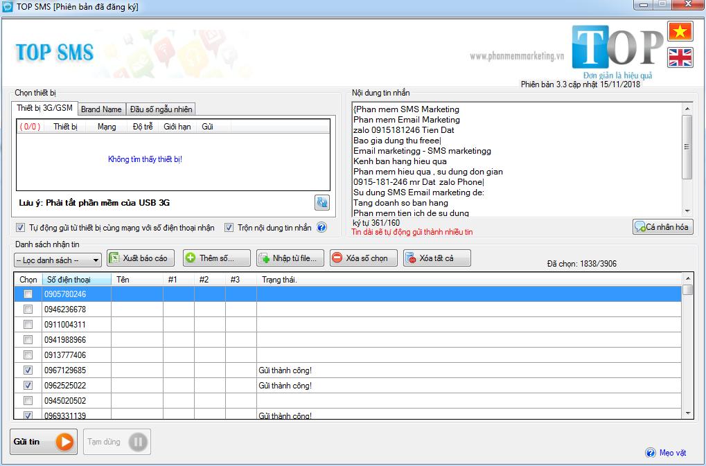 Phần mềm gửi tin nhắn TOP SMS