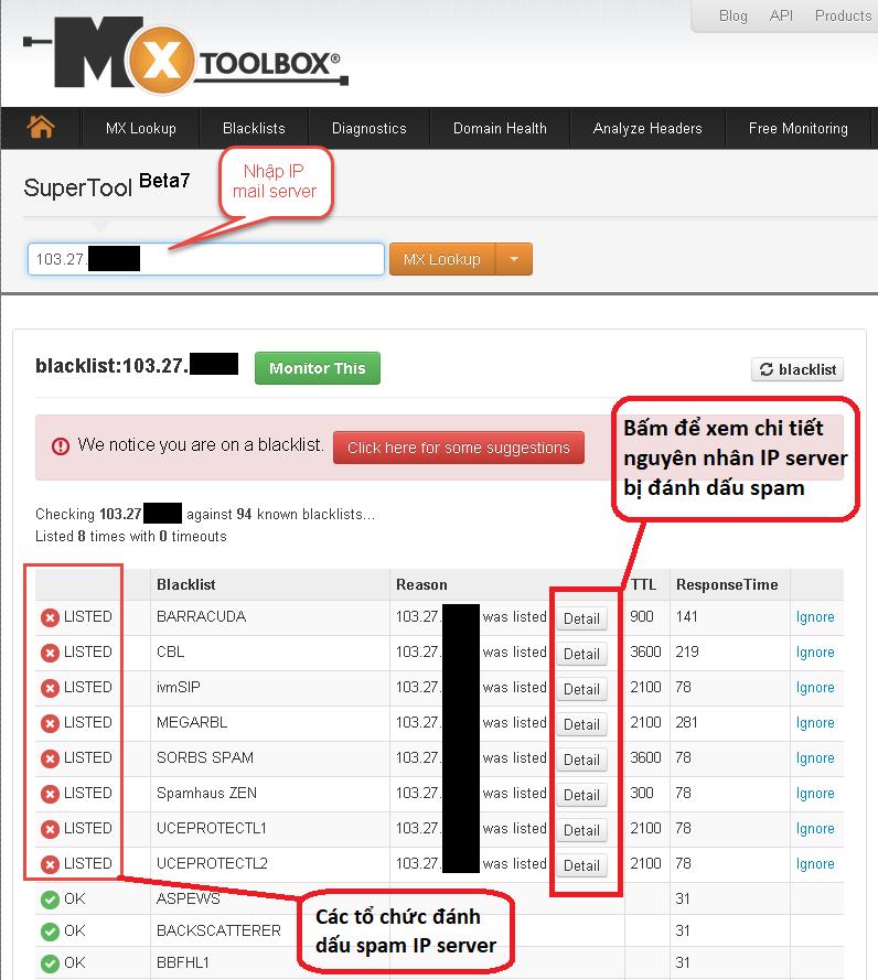 Kiểm tra Ip server blacklist - Email gửi vào spam