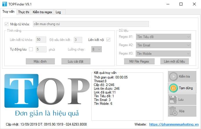 Phần mềm tìm kiếm email số điện thoại theo từ khóa