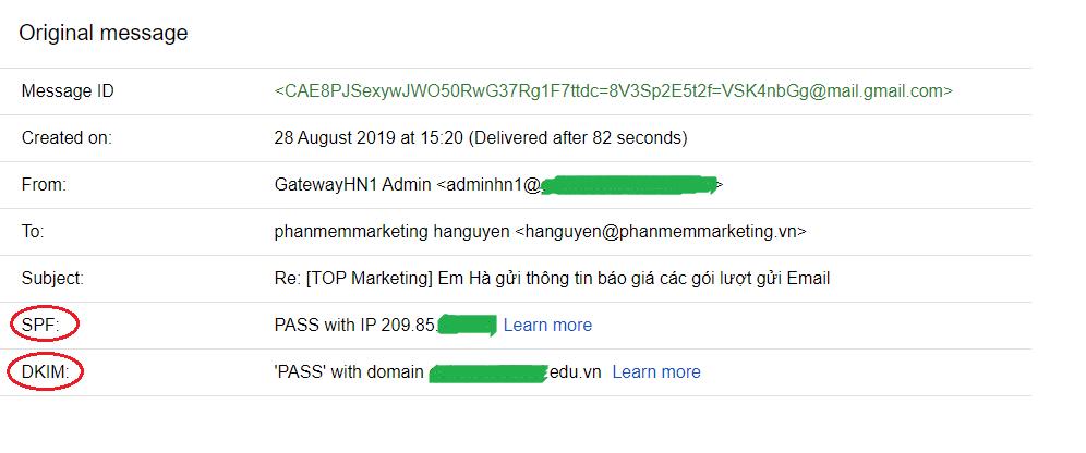 xác thực Dkim và SPF của máy chủ email